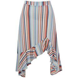 Juniors Stripe Ruffle Trim Skirt