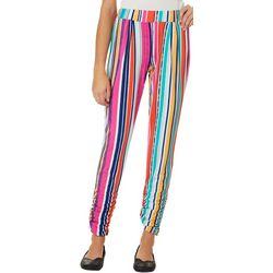 Full Circle Trends Juniors Stripe Print Ruched Leggings