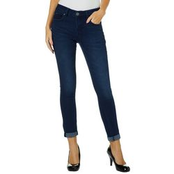 Blue Desire Juniors Booty Booster Roll Cuff Skinny Jeans