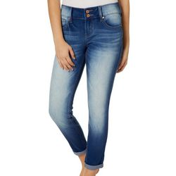 Blue Desire Juniors Bleach Wash Roll Cuff Jeans