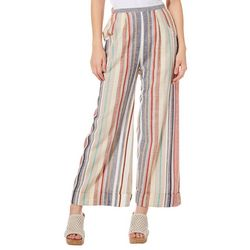 Angie Juniors Striped Linen Pull On Ankle Pants