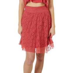 Angie Juniors Floral Crochet Lace Skirt