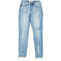 KanCan Juniors Mid Rise Distressed Skinny Ankle Jeans