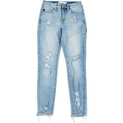 Juniors Mid Rise Distressed Skinny Ankle Jeans