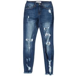KanCan Juniors Mid Rise Skinny Ankle Distressed Jeans