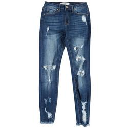 Juniors Mid Rise Skinny Ankle Distressed Jeans