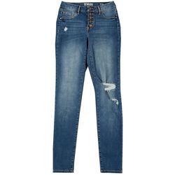 Rewash Juniors Mid Rise Button Fly Distressed Jeggings