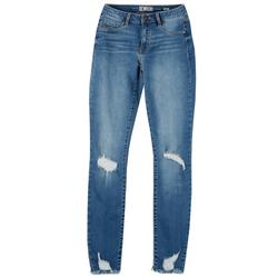 Juniors Fray hem Distressed Jegging