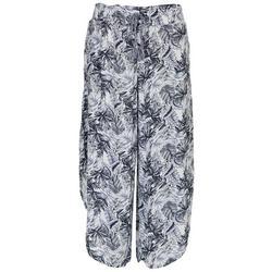 Juniors Palm Leaves Hem Beach Pants
