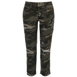 Juniors Mid Rise Ultra Stretch Camo Jersey Jeans