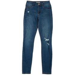 Rewash Juniors Julie Distressed Denim Mid Rise Jegging