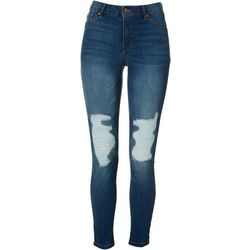 Rewash Juniors Distressed Roll Cuff Mid Rise Denim Jeggings