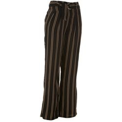 Juniors Vertical Stripes Belted Trouser Pants