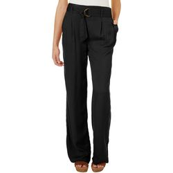 Juniors Solid Belted Trouser Pants