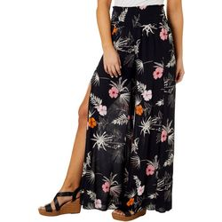 Juniors Tropical Floral Side Slit Pants