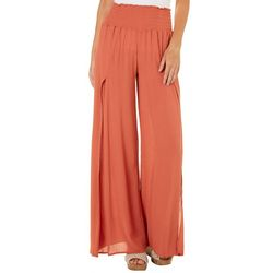 Rewash Juniors Solid Side Slit Smocked Pants