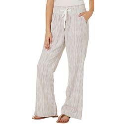 Rewash Juniors Scratched Stripe Flared Linen Pants