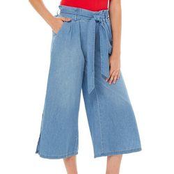 Rewash Juniors Solid Wide Leg Crop Pants