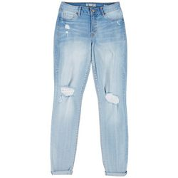 Rewash Juniors Roll Cuff Distressed Jeans