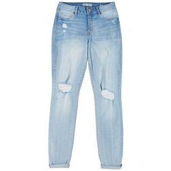Rewash Juniors Roll Cuff Distressed Jeans