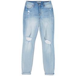Juniors Roll Cuff Distressed Jeans