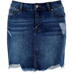 Juniors Distressed High Rise Skirt Button Up