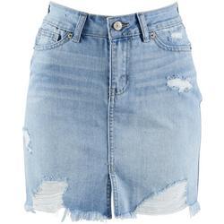 Juniors Distressed High Rise Skirt