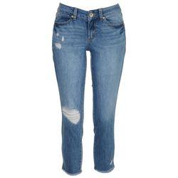 Rewash Juniors Frayed Jersey Crop Jeans