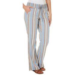 Rewash Juniors Stripe Print Flared Linen Pants