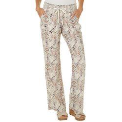 Rewash Juniors Damask Print Linen Pants