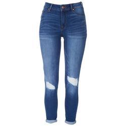 Juniors Mid Rise Rolled Hem Jogger Jeans