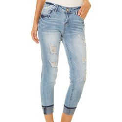 Elite Jeans Juniors Destructed Roll Cuff Ankle Jeans