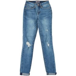 Sound Girl Juniors Mid Rise Slightly Distressed Jeans