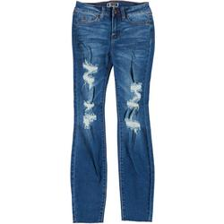 Juniors Mid Rise Distressed Raw Hem Jeans