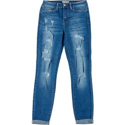 Sound Girl Juniors Mid Rise Distressed Cuffed Jeans