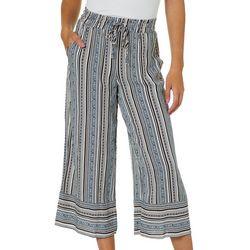 Be Bop Juniors Mixed Stripe Wide Leg Crop Pants