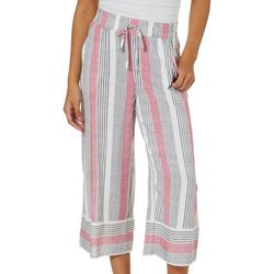 Be Bop Juniors Stripe Print Wide Leg Crop Pants