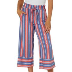 Be Bop Juniors Vertical Stripe Wide Leg Crop Pants