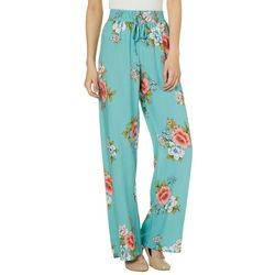 Be Bop Juniors Floral Print Wide Leg Soft Pants