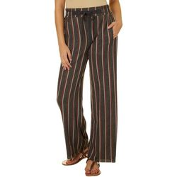 Juniors Heathered Vertical Stripe Soft Bottom Pants