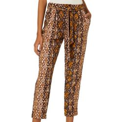 Be Bop Juniors Snake Skin Print Belted Pants