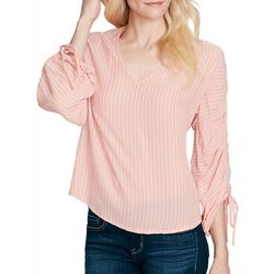 Jessica Simpson Womens Striped Ruched Sleeve Top