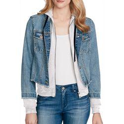 Jessica Simpson Womens Peony Distressed Denim Knit Jacket