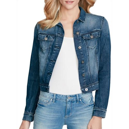 4bcad54de5d1a Jessica Simpson Womens Cropped Ruffle Back Denim Jacket