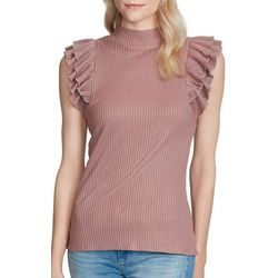 Jessica Simpson Womens Ribbed Ruffle Top