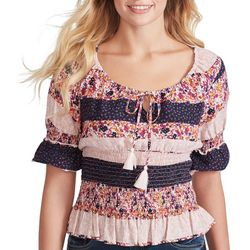 Jessica Simpson Womens Mixed Floral Stripe Peasant Top