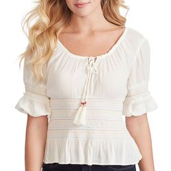 Jessica Simpson Womens Solid Smocked Peasant Top