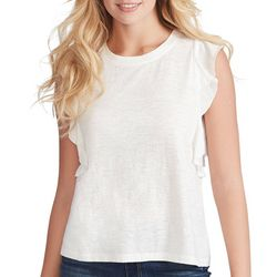 Jessica Simpson Womens Solid Ruffle Sleeveless Top