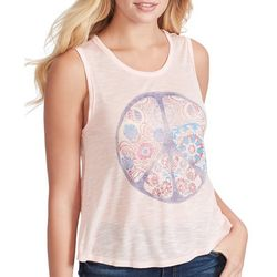 Jessica Simpson Womens Floral Peace Sign Sleeveless Top