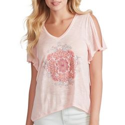 Jessica Simpson Womens Floral Mandala Split Sleeve Top